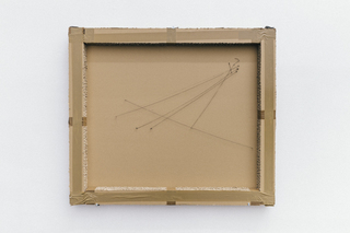 <b>Untitled</b>, duct tape, parcel tape, ink on cardboard, synthetic strings, pins, 116 × 100 × 8 cm, 2014
